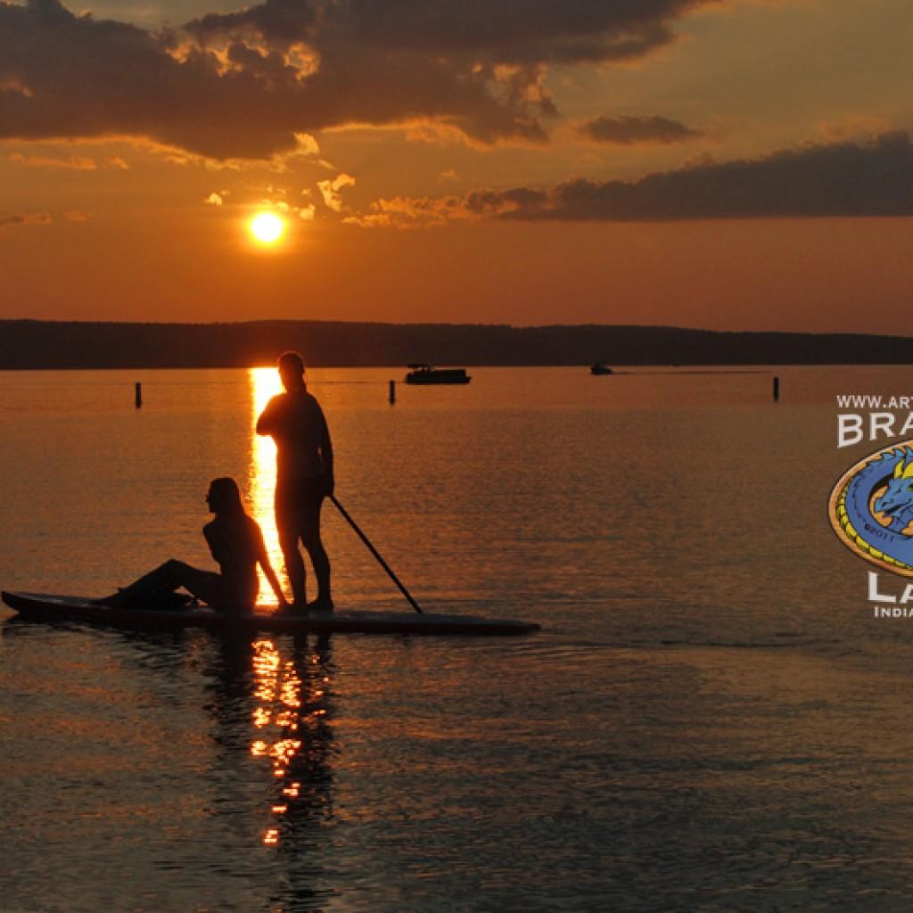 paddelboarding sunset burt lake - image