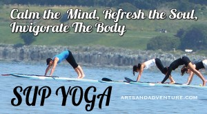 view of yoga on paddleboards - image